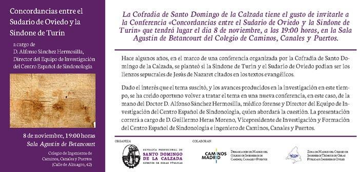 Concordancias con el Sudario de Oviedo y la Síndone de Turín – Conferencia el 8 de noviembre