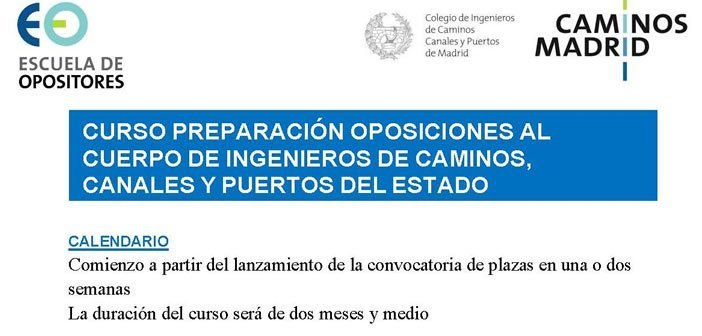 Curso Preparación Oposiciones al Cuerpo de Ingenieros de Caminos, Canales y Puertos del Estado